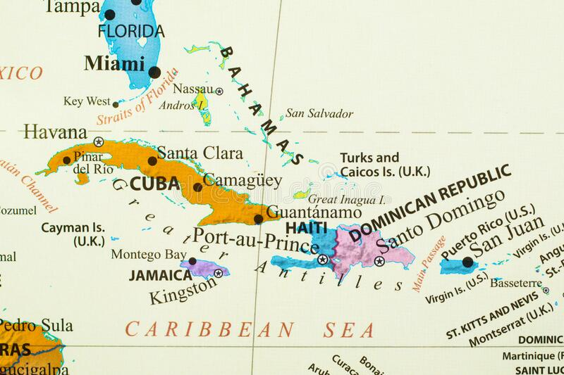 Map of Caribbean Islands. Map of Caribbean island with different country such as Cuba, Haiti, Dominican Republic, Bahamas, and more stock images