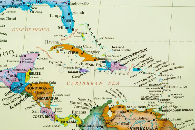Map of Caribbean Islands. Map of Caribbean island with different country such as Cuba, Haiti, Dominican Republic, Bahamas, and more royalty free stock photo
