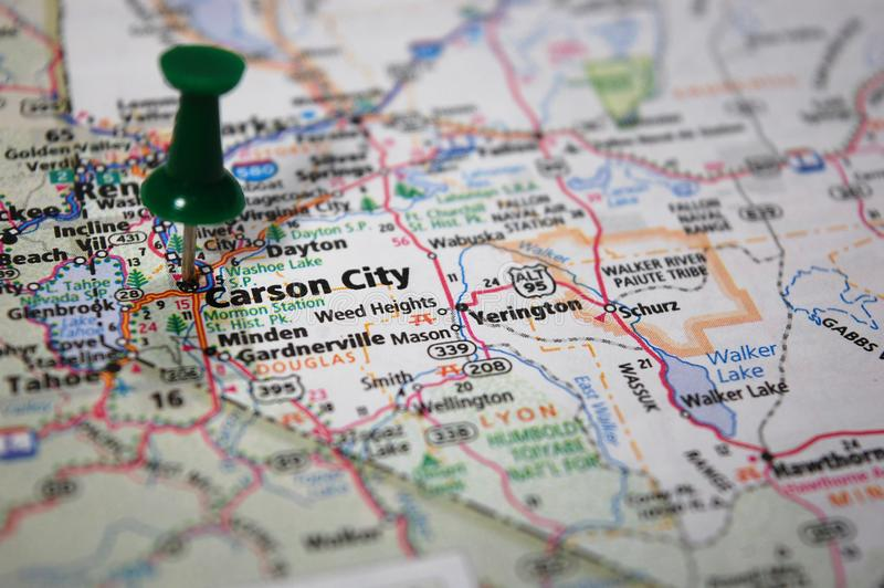 Carson City, Nevada. A map of Carson City, Nevada marked with a push pin stock photography
