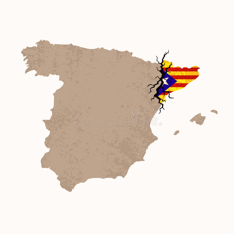 Map of Catalan Independence. Outline map of Spain and Catalonia with black crack. Illustration for a referendum on Catalan independence royalty free illustration