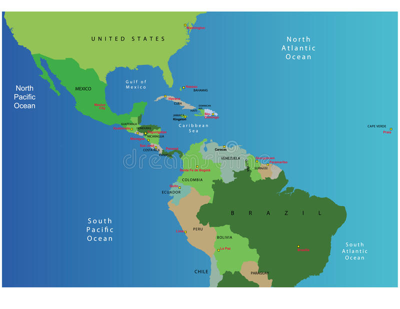 Map of Central America stock image