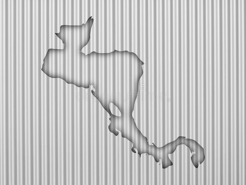 Map of Central America on corrugated iron. Colorful and crisp image of map of Central America on corrugated iron royalty free stock images