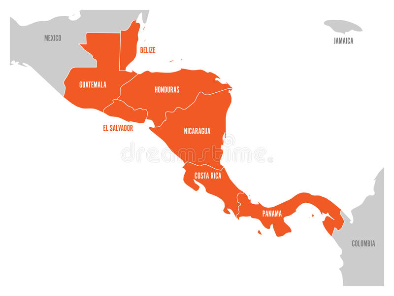 Map of central america region with red highlighted central american download map of central america region with red highlighted central american states country name labels gumiabroncs Choice Image