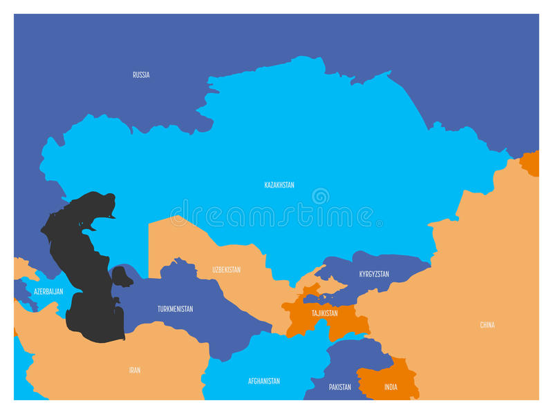 download map of central asia region with flat map in four colors with white country