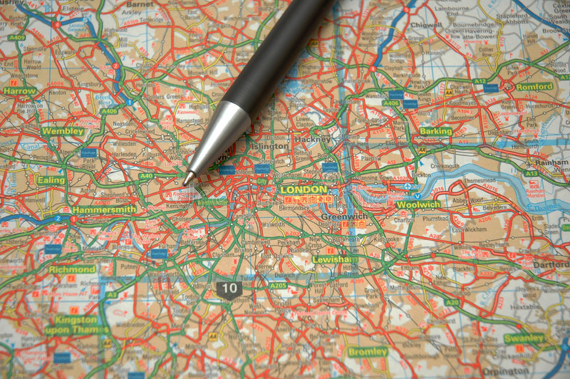Download Map of central London stock photo. Image of north, border - 1414614