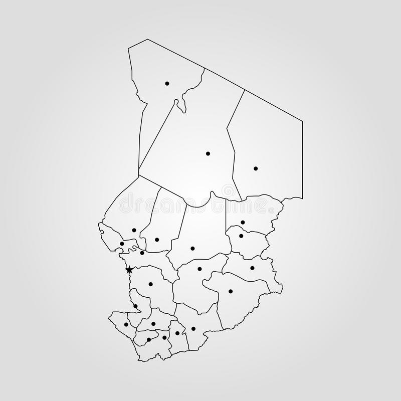 Map of Chad. Vector illustration. World map vector illustration
