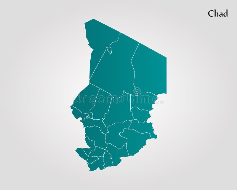 Map of Chad. Vector illustration. World map stock illustration