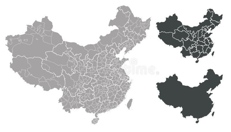 Map of China. Detailed map China on white background royalty free illustration