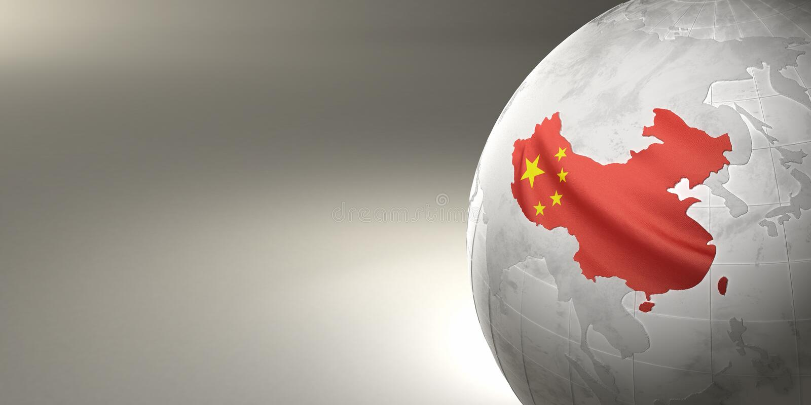 Map of the China on Earth in the national colors. 3D vector illustration