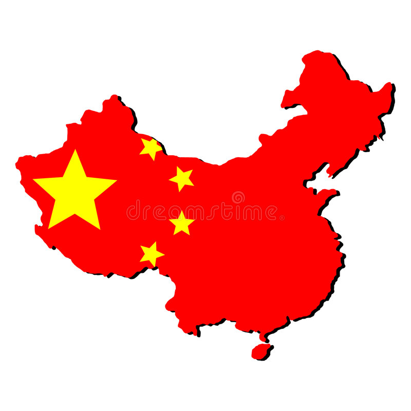 Map of China with flag. Map of China and Chinese flag illustration vector illustration