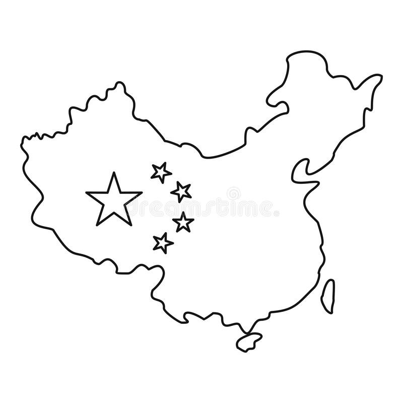 Map Of China With Flag Icon, Outline Style Stock Vector ...