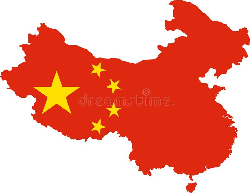 China Map with Flag royalty free illustration