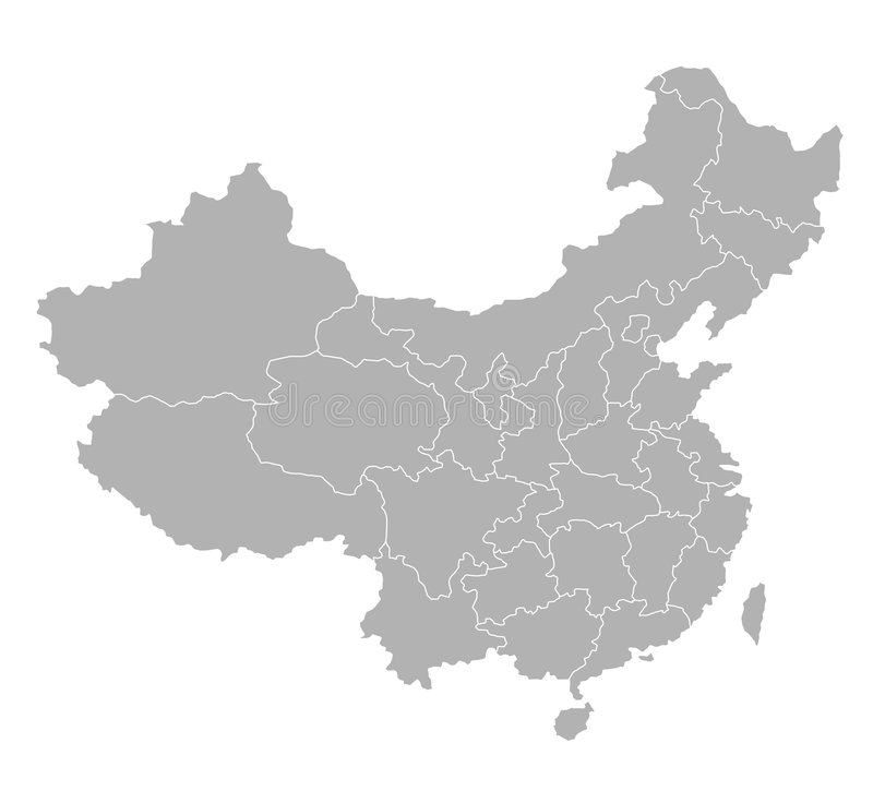 Map of China - gray. An illustrated map of china with its single provinces