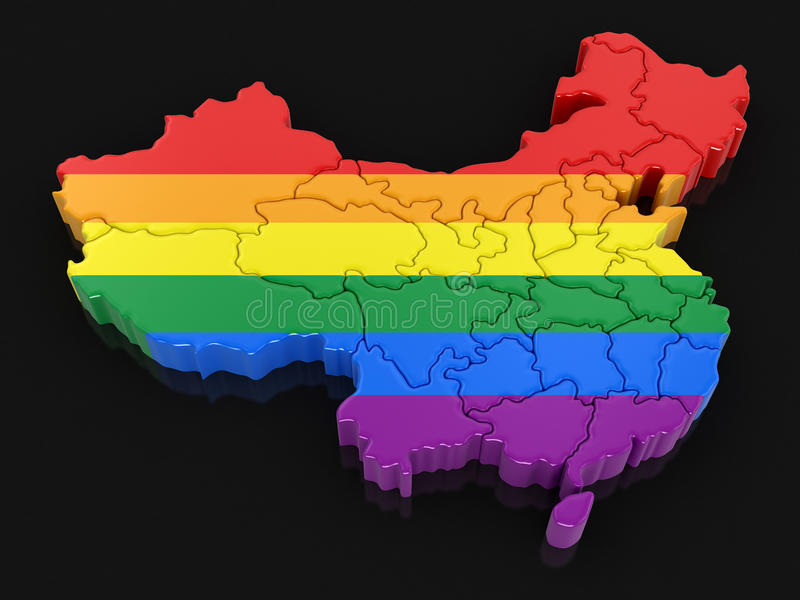 Map of China with LGBT flag royalty free illustration