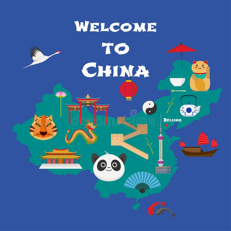 Map of China vector illustration, design element. Icons with Chinese lucky cat, dragon, great wall. Explore China concept image stock illustration