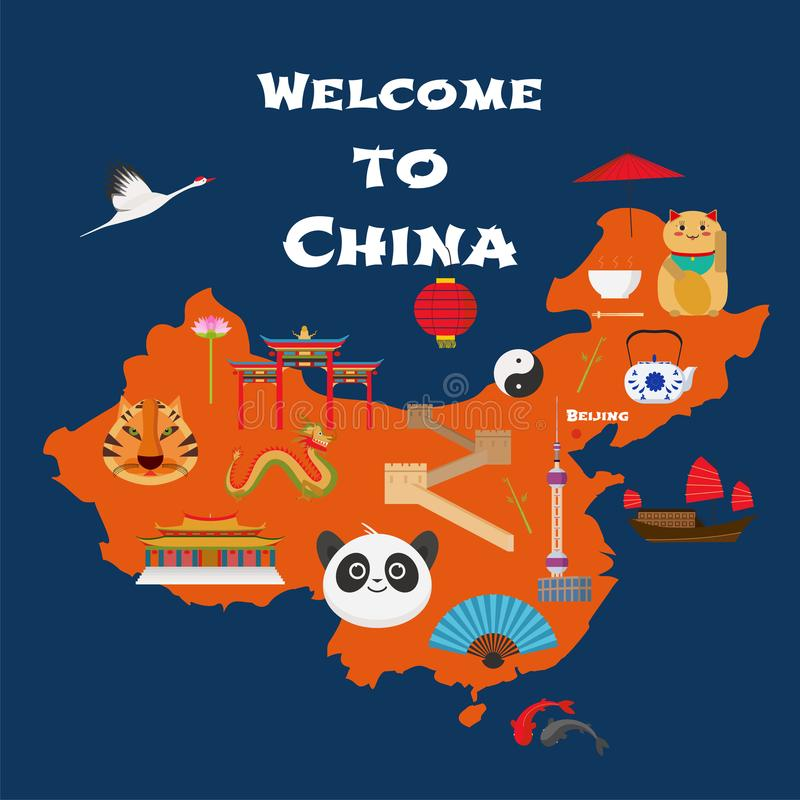 Map of China vector illustration, design. Icons with Chinese landmarks, gate, temple. Explore China concept image royalty free illustration