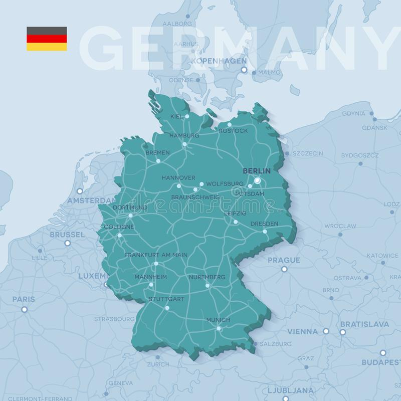 Map Of Cities And Roads In Germany. Stock Vector ...