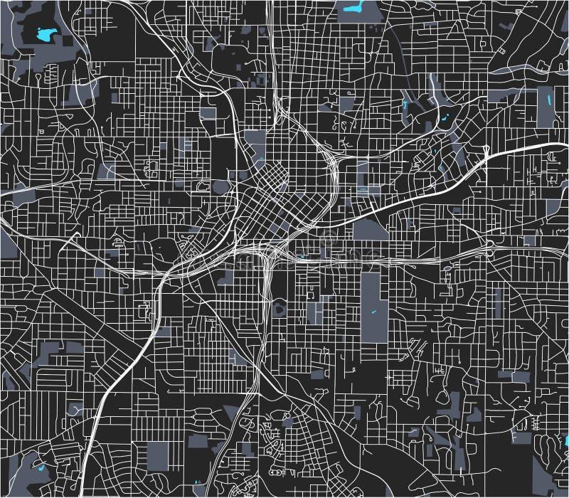 Map of the city of Atlanta, USA stock photo