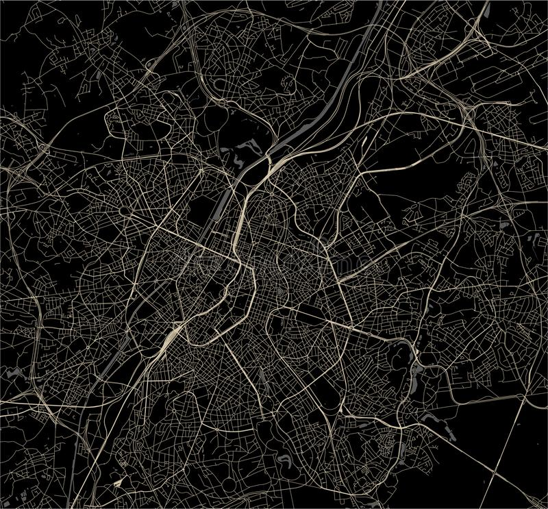 Map of the city of Brussels, Belgium royalty free stock image