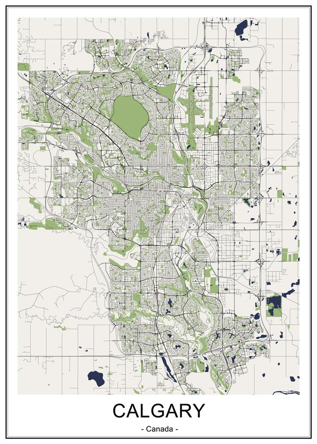 Map of the city of Calgary, Canada. Vector map of the city of Calgary, Canada vector illustration