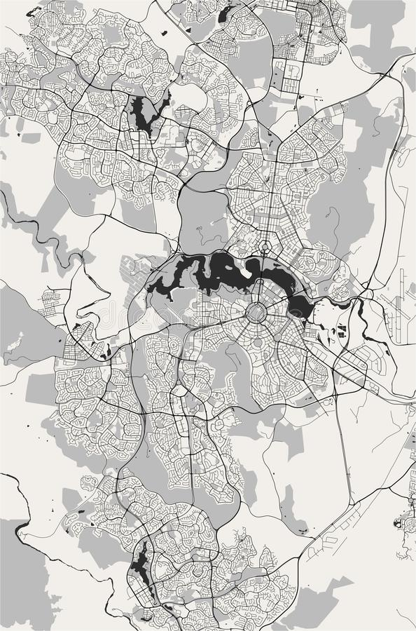 Map of the city of Canberra, Australian Capital Territory, Australia. Vector map of the city of Canberra, Australian Capital Territory, Australia stock illustration