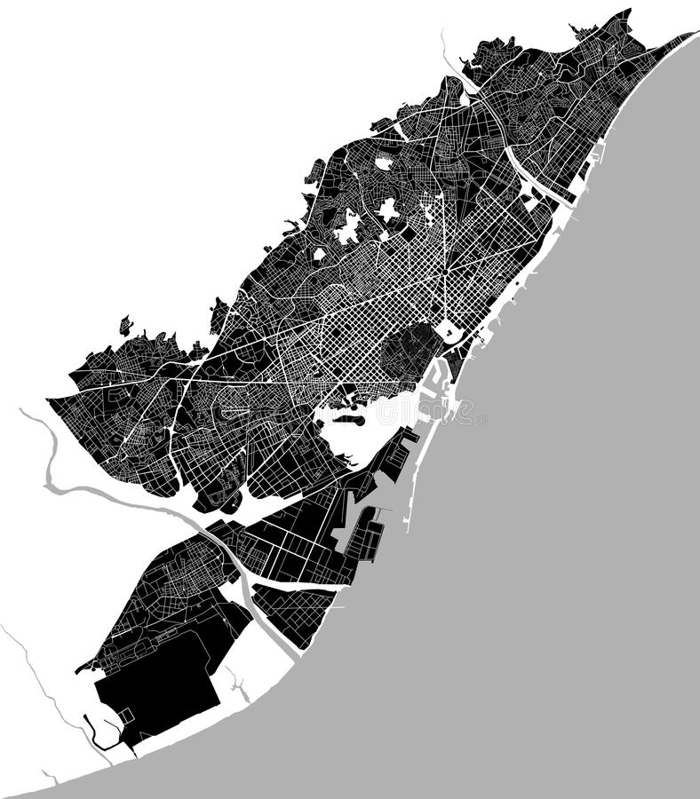 Map of the city center of Barcelona, Spain stock photo