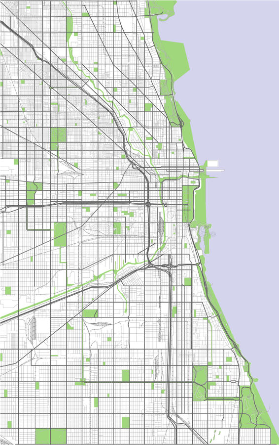 Map Of The City Of Chicago USA Stock Vector Illustration of