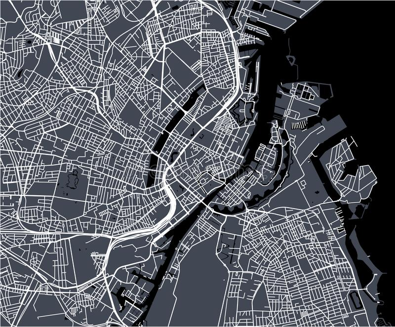 Map of the city of Copenhagen, Denmark. Vector map of the city of Copenhagen, Denmark stock photos