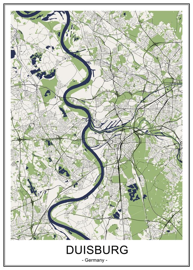 Map of the city of Duisburg, Germany. Vector map of the city of Duisburg, Germany royalty free illustration