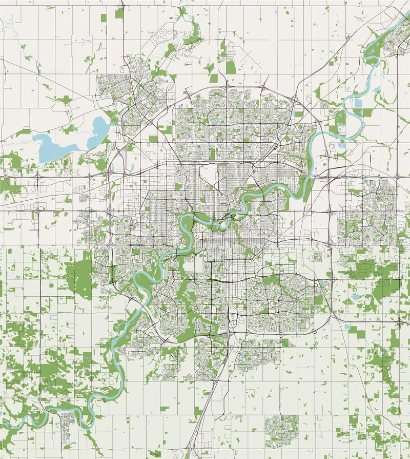 Map of the city of Edmonton, Canada. Vector map of the city of Edmonton, Canada royalty free illustration