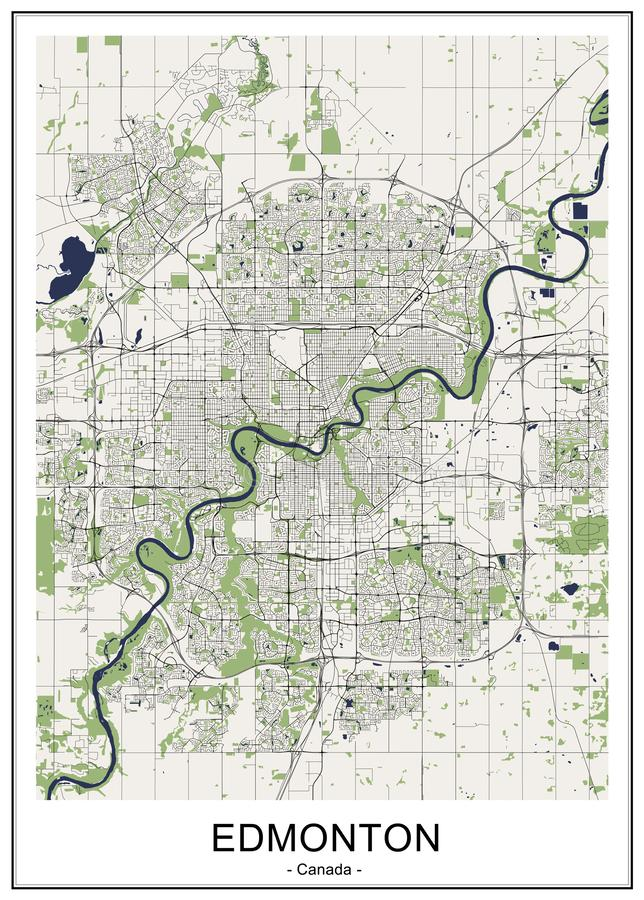 Map of the city of Edmonton, Canada. Vector map of the city of Edmonton, Canada vector illustration