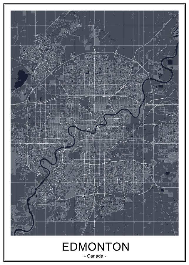 Map of the city of Edmonton, Canada. Vector map of the city of Edmonton, Canada stock illustration