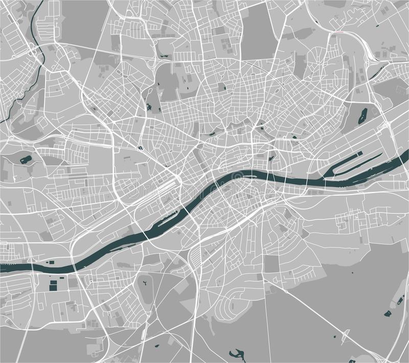 Map of the city of Frankfurt am Main, Hesse, Germany stock illustration