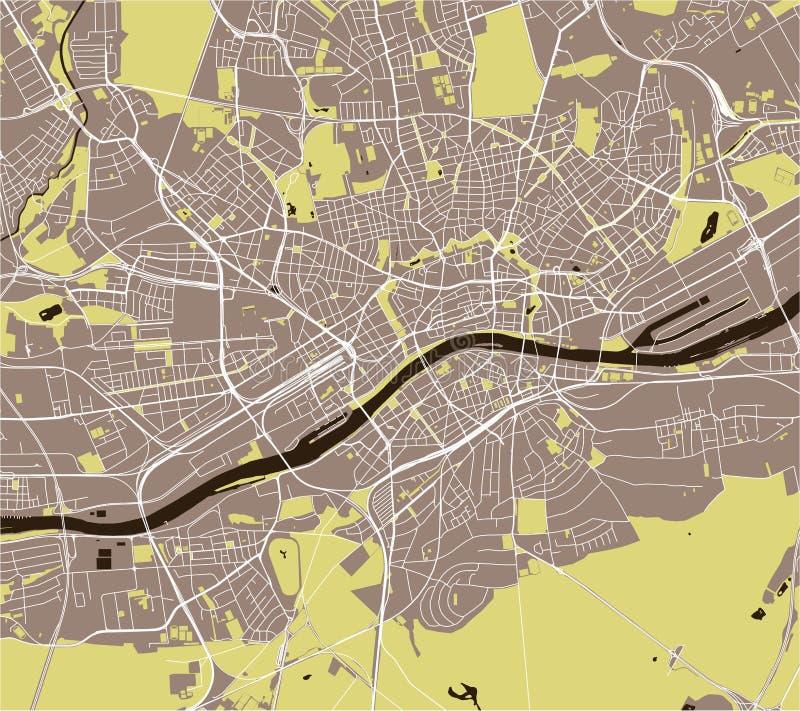 Map of the city of Frankfurt am Main, Hesse, Germany. Vector map of the city of Frankfurt am Main, Hesse, Germany stock illustration