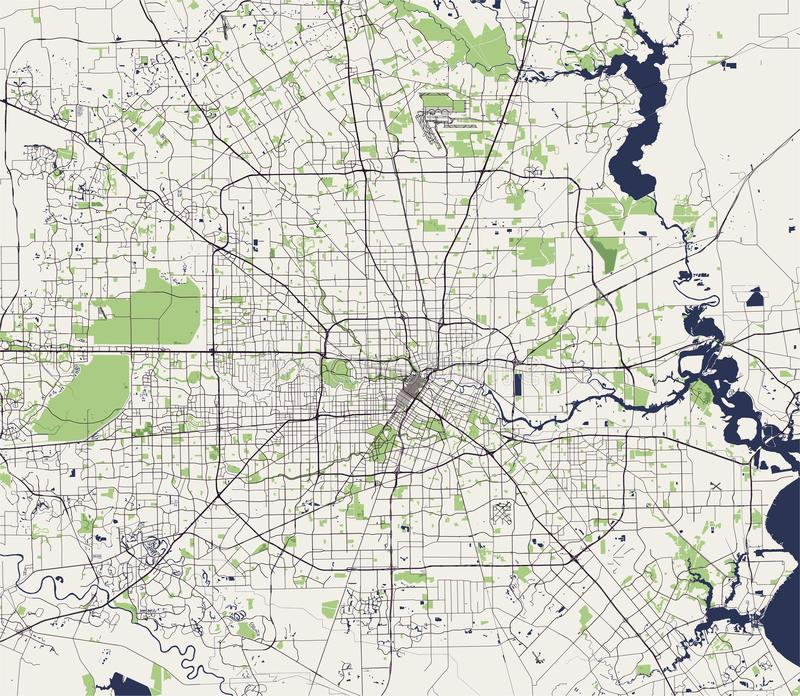 Map Of The City Of Houston, U.S. State Of Texas, USA Stock