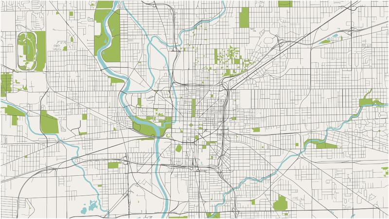 Map Of The City Of Indianapolis, Indiana, USA Stock ...