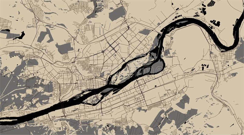 Map of the city of Krasnoyarsk, Russia royalty free illustration