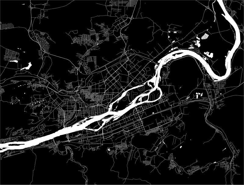 Map of the city of Krasnoyarsk, Russia stock illustration