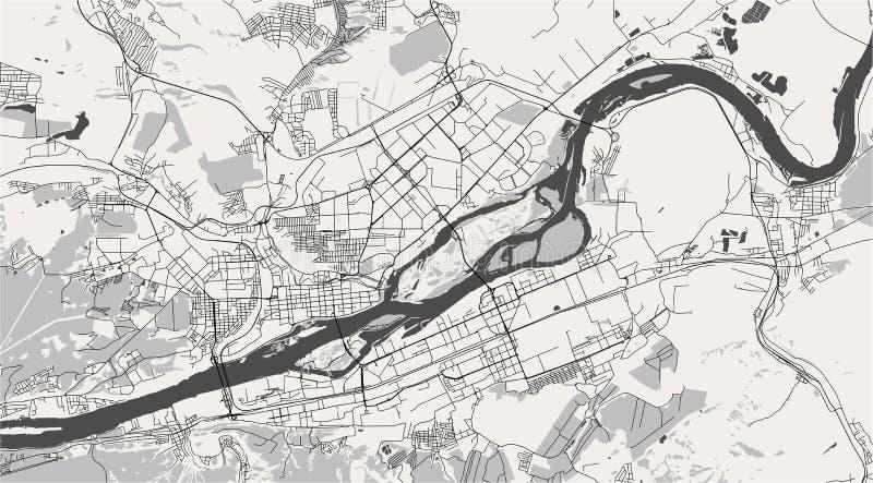 Map of the city of Krasnoyarsk, Russia vector illustration