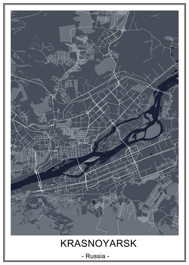 Map of the city of Krasnoyarsk, Russia royalty free illustration
