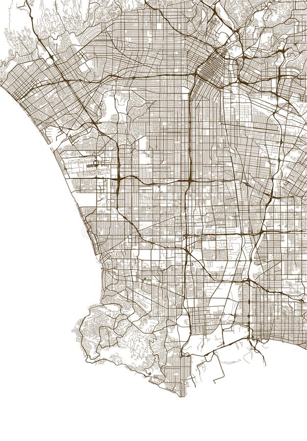 Map of the city of Los Angeles, USA. Illustration map of the city of Los Angeles, USA vector illustration