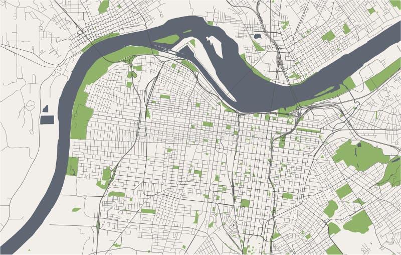 Map of the city of Louisville, Kentucky, USA stock photos