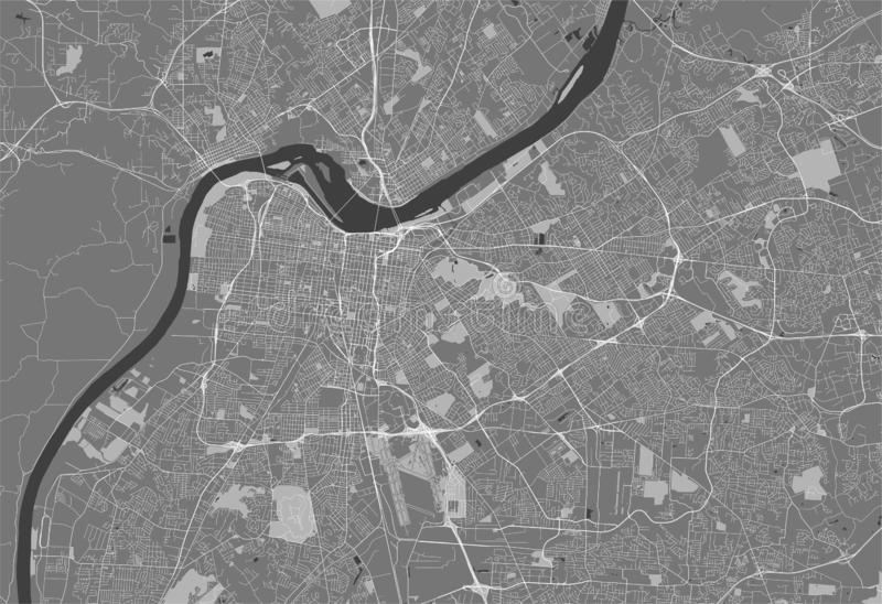 Map of the city of Louisville, Kentucky, USA royalty free stock photo
