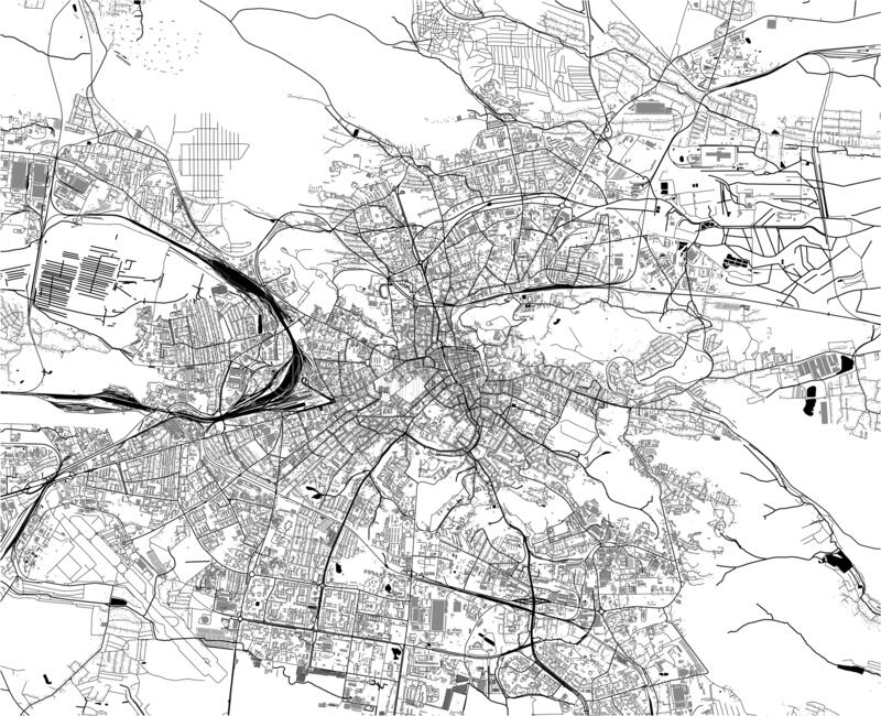 Map of the city of Lviv, Lviv Oblast, Ukraine. Vector map of the city of Lviv, Lviv Oblast, Ukraine royalty free stock photography