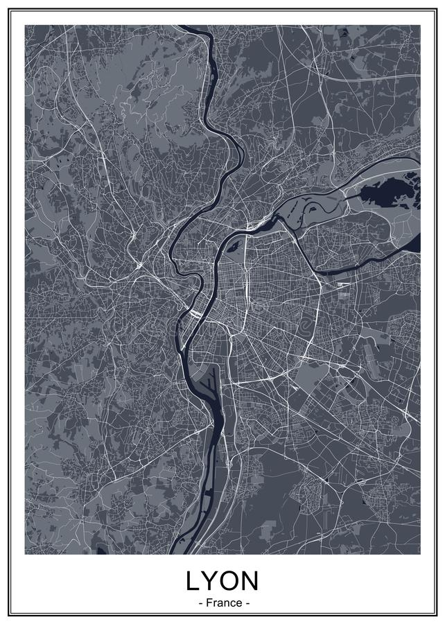 Map of the city of Lyon, France royalty free stock images