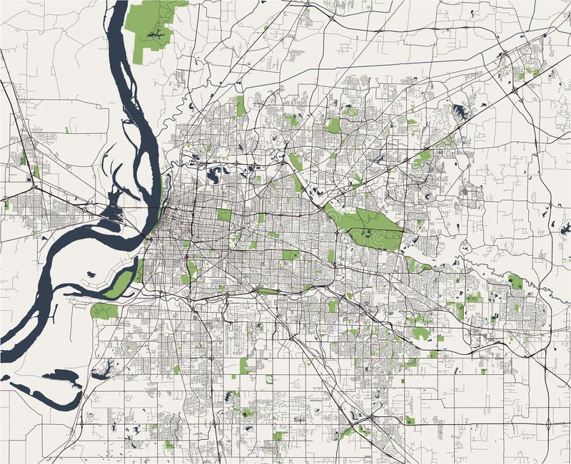 Map of the city of Memphis , Mississippi, USA royalty free stock photo