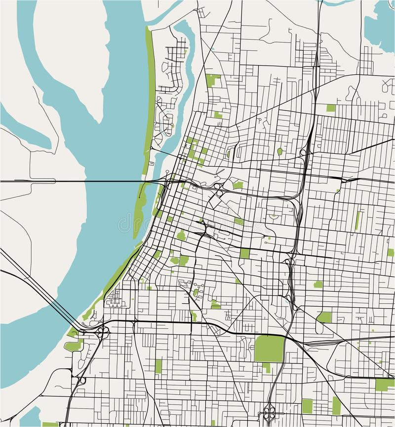 Map of the city of Memphis , Mississippi, USA stock photos