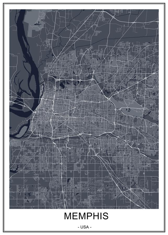 Map of the city of Memphis , Mississippi, USA royalty free stock images