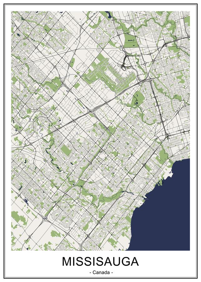 Map of the city of Mississauga, Canada. Vector map of the city of Mississauga, Canada vector illustration