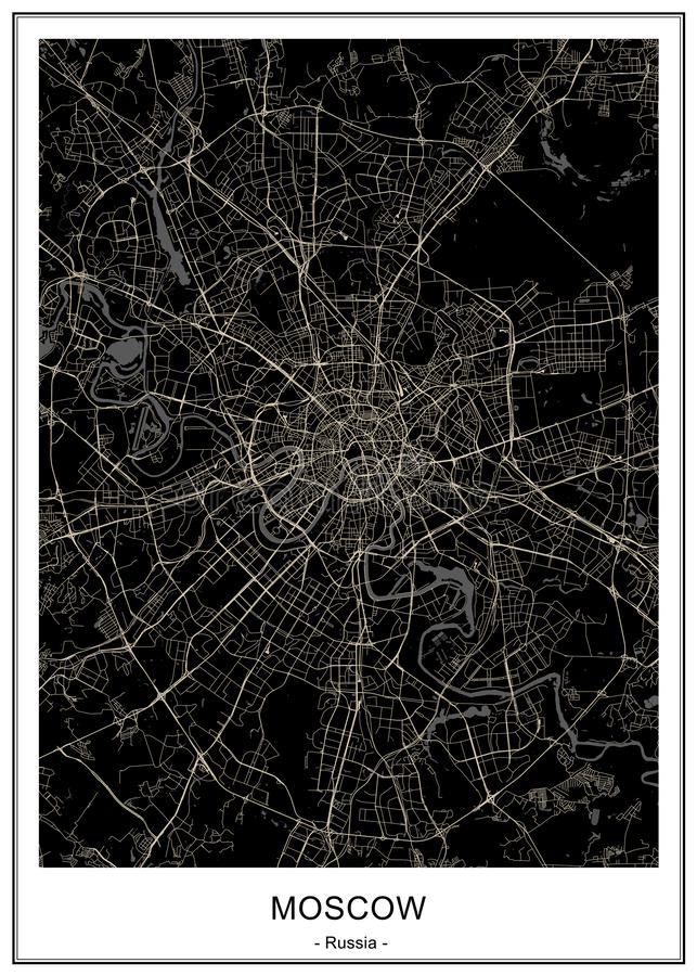 Map of the city of Moscow, Russia stock illustration